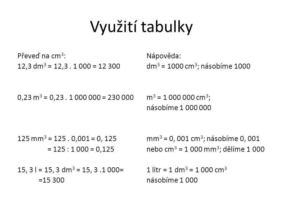 Využití tabulky Převeď na cm 3 : 12,3 dm 3 = 12,3.