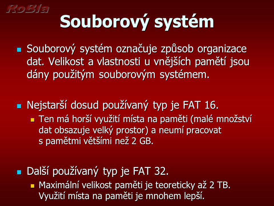 Souborový systém Souborový systém označuje způsob organizace dat.