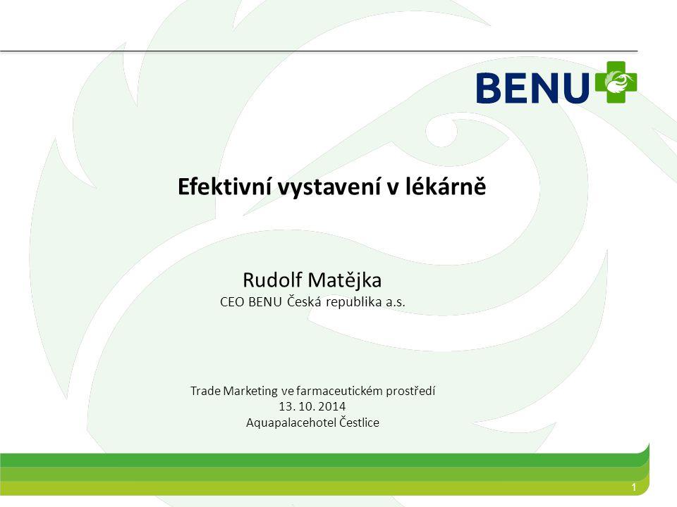 1 Efektivní vystavení v lékárně Rudolf Matějka CEO BENU Česká republika a.s. Trade Marketing ve farmaceutickém prostředí 13. 10. 2014 Aquapalacehotel