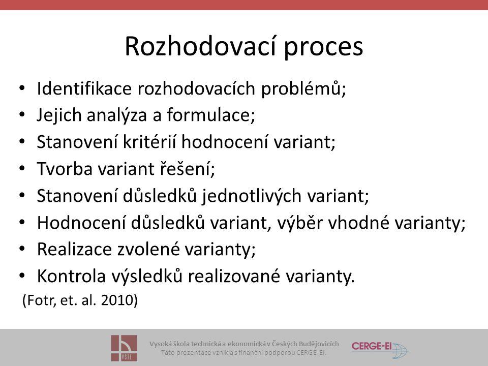 Vysoká škola technická a ekonomická v Českých Budějovicích Tato prezentace vznikla s finanční podporou CERGE-EI. Rozhodovací proces Identifikace rozho