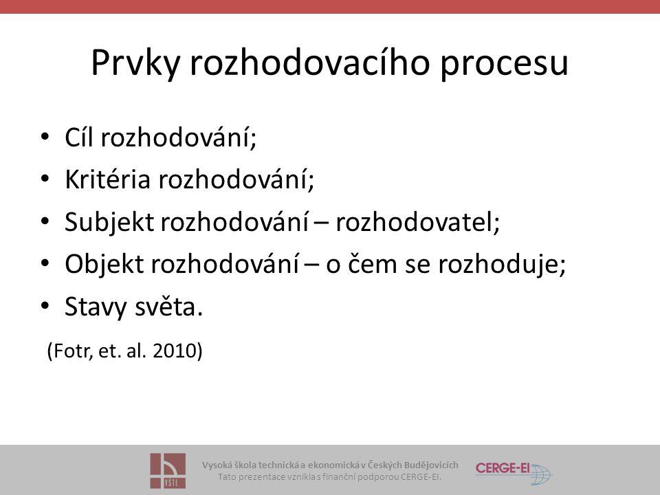 Vysoká škola technická a ekonomická v Českých Budějovicích Tato prezentace vznikla s finanční podporou CERGE-EI. Prvky rozhodovacího procesu Cíl rozho