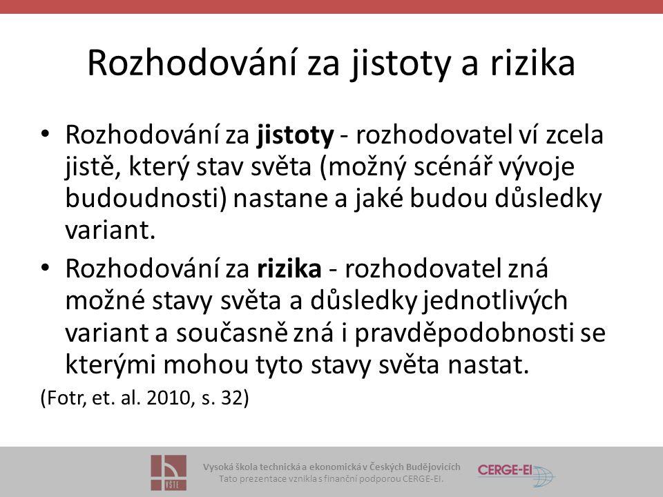Vysoká škola technická a ekonomická v Českých Budějovicích Tato prezentace vznikla s finanční podporou CERGE-EI. Rozhodování za jistoty a rizika Rozho