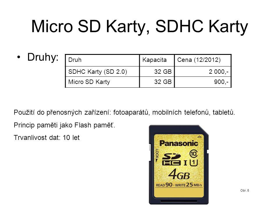 Micro SD Karty, SDHC Karty Druhy: DruhKapacitaCena (12/2012) SDHC Karty (SD 2.0)32 GB2 000,- Micro SD Karty32 GB900,- Použití do přenosných zařízení: fotoaparátů, mobilních telefonů, tabletů.