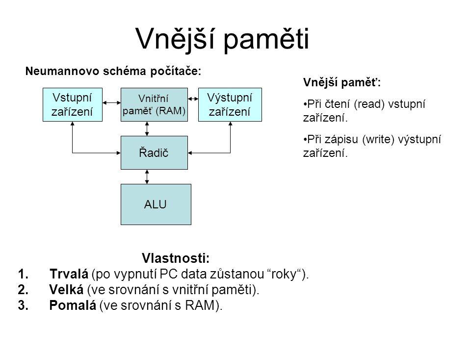 """Vnější paměti Vlastnosti: 1.Trvalá (po vypnutí PC data zůstanou """"roky""""). 2.Velká (ve srovnání s vnitřní paměti). 3.Pomalá (ve srovnání s RAM). Vnitřní"""