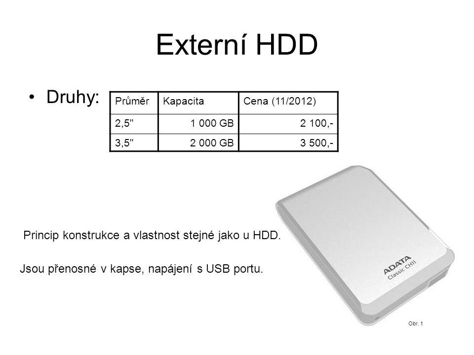 Externí HDD Druhy: PrůměrKapacitaCena (11/2012) 2,5 1 000 GB2 100,- 3,5 2 000 GB3 500,- Princip konstrukce a vlastnost stejné jako u HDD.