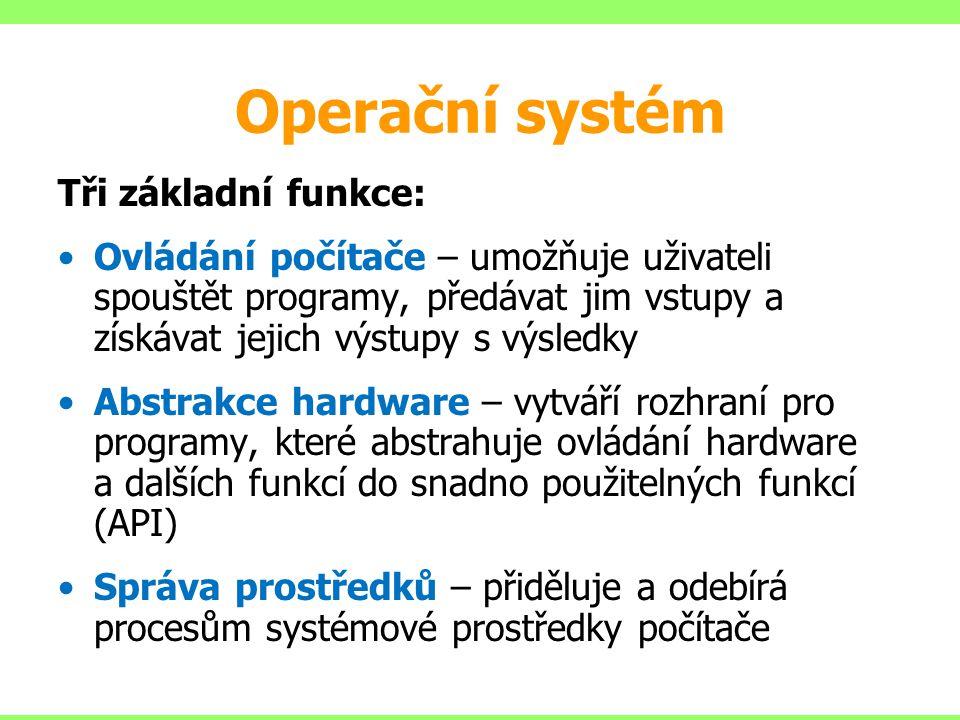 Operační systém Tři základní funkce: Ovládání počítače – umožňuje uživateli spouštět programy, předávat jim vstupy a získávat jejich výstupy s výsledk