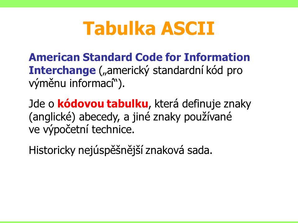 Tabulka ASCII Vychází z ní většina současných standardů pro kódování textu (euro-americká zóna).