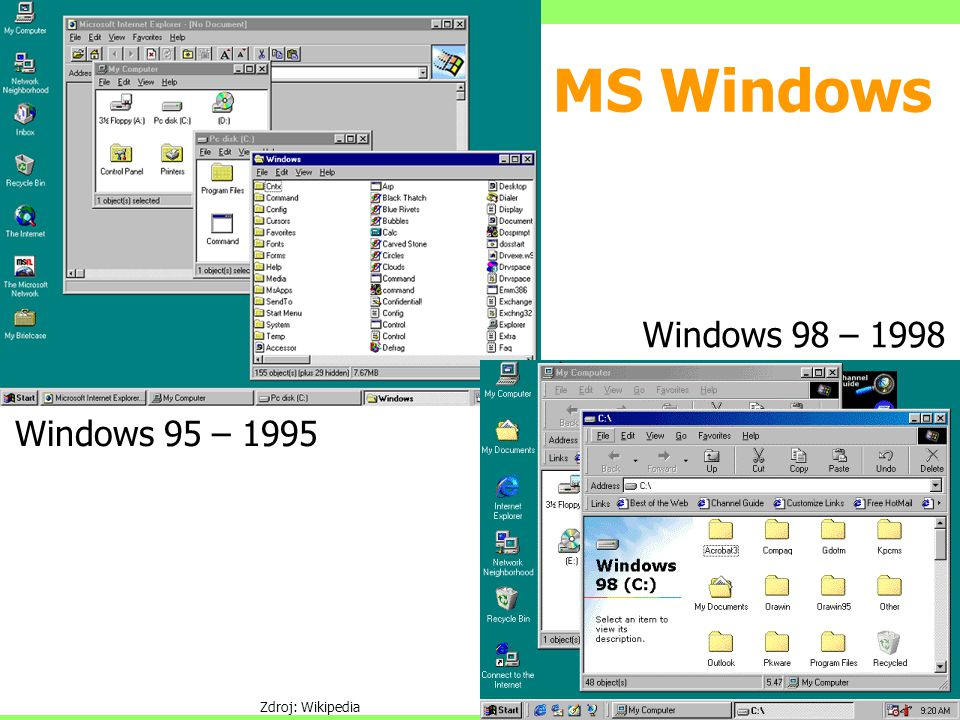 MS Windows Windows 95 – 1995 Windows 98 – 1998 Zdroj: Wikipedia
