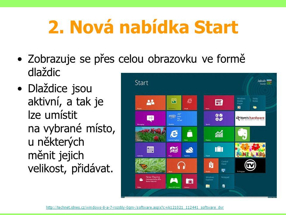 2. Nová nabídka Start Zobrazuje se přes celou obrazovku ve formě dlaždic Dlaždice jsou aktivní, a tak je lze umístit na vybrané místo, u některých měn