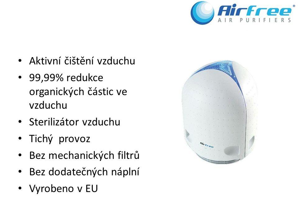 Aktivní čištění vzduchu 99,99% redukce organických částic ve vzduchu Sterilizátor vzduchu Tichý provoz Bez mechanických filtrů Bez dodatečných náplní Vyrobeno v EU