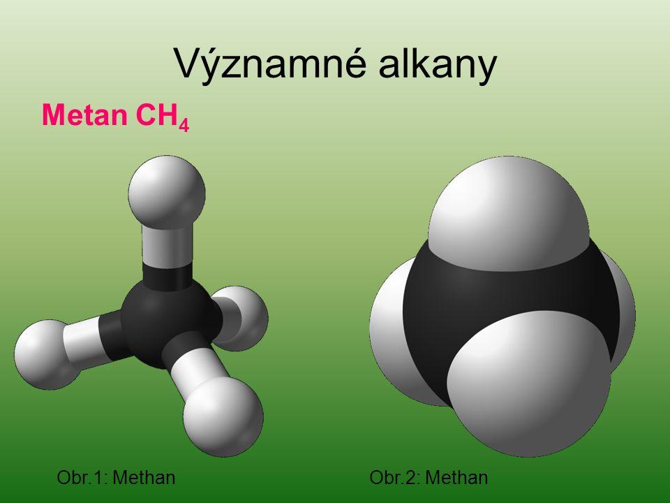 Významné alkany Metan CH 4 Obr.1: Methan Obr.2: Methan