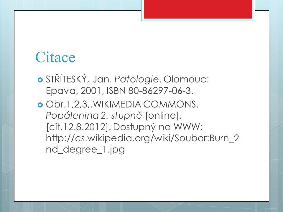 Citace  STŘÍTESKÝ, Jan. Patologie. Olomouc: Epava, 2001, ISBN 80-86297-06-3.  Obr.1,2,3,.WIKIMEDIA COMMONS. Popálenina 2. stupně [online]. [cit.12.8