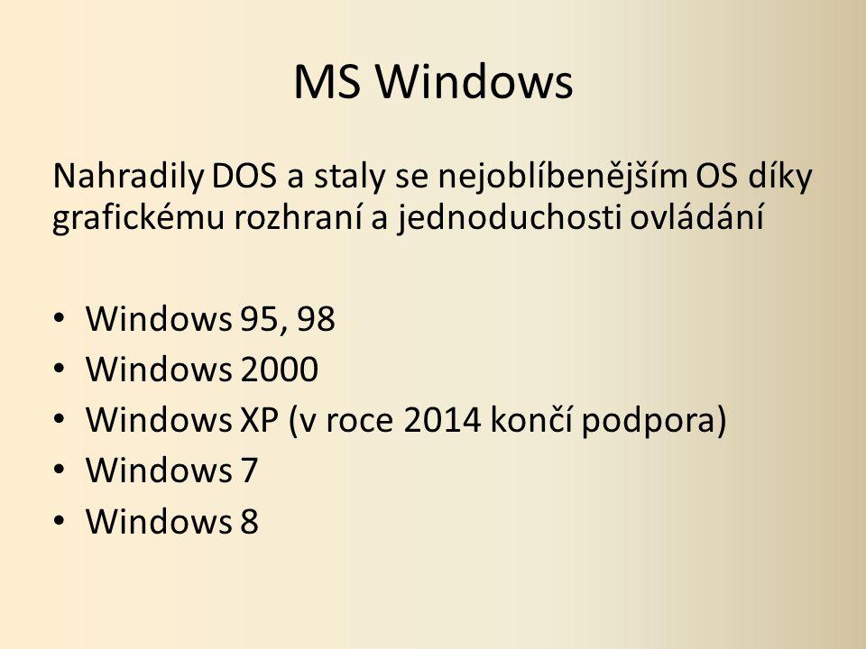 MS Windows Nahradily DOS a staly se nejoblíbenějším OS díky grafickému rozhraní a jednoduchosti ovládání Windows 95, 98 Windows 2000 Windows XP (v roce 2014 končí podpora) Windows 7 Windows 8