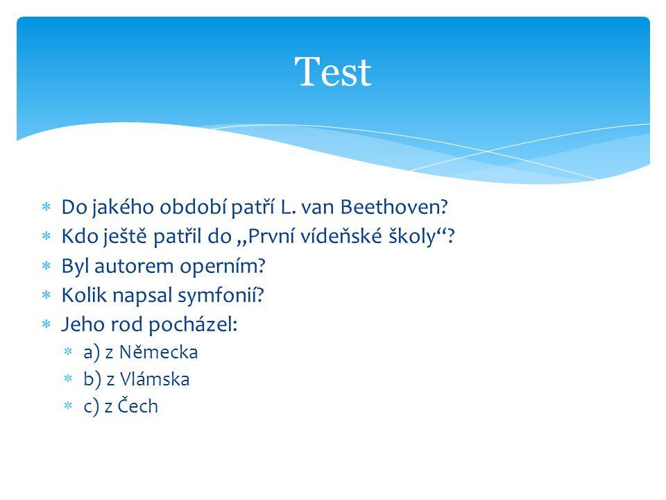 """ Do jakého období patří L. van Beethoven?  Kdo ještě patřil do """"První vídeňské školy""""?  Byl autorem operním?  Kolik napsal symfonií?  Jeho rod po"""