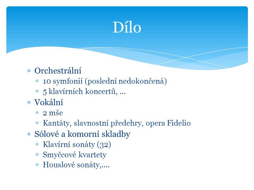  Orchestrální  10 symfonií (poslední nedokončená)  5 klavírních koncertů, …  Vokální  2 mše  Kantáty, slavnostní předehry, opera Fidelio  Sólov