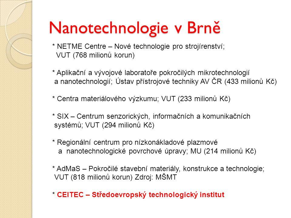 Nanotechnologie v Brně * NETME Centre – Nové technologie pro strojírenství; VUT (768 milionů korun) * Aplikační a vývojové laboratoře pokročilých mikr