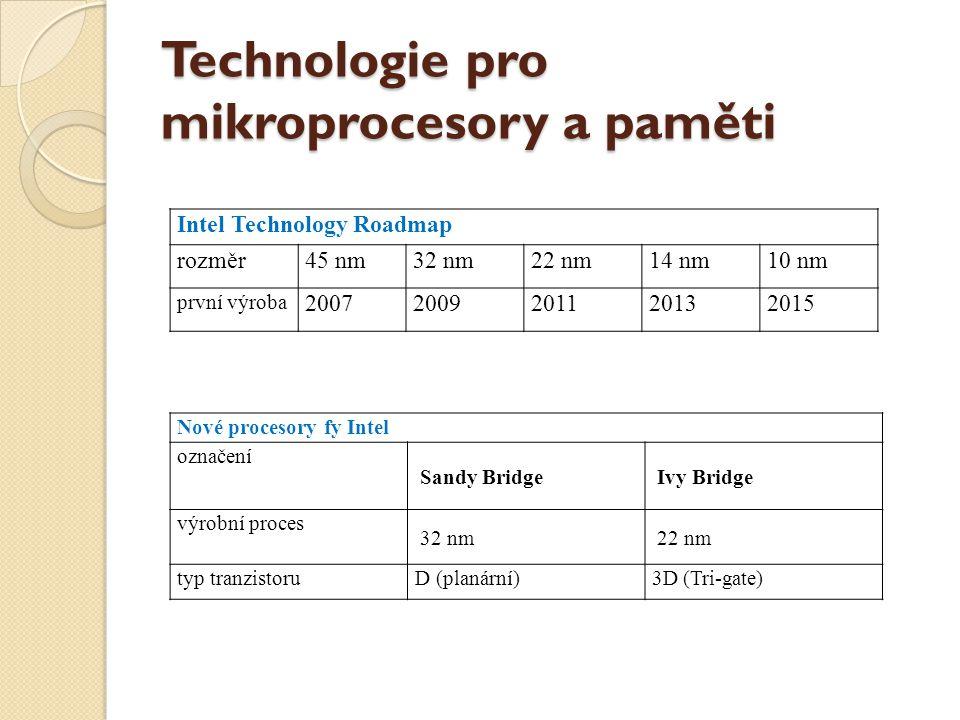 Technologie pro mikroprocesory a paměti Intel Technology Roadmap rozměr45 nm32 nm22 nm14 nm10 nm první výroba 20072009201120132015 Nové procesory fy I