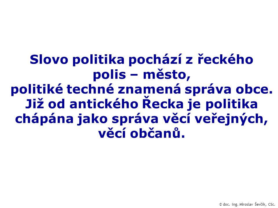 Slovo politika pochází z řeckého polis – město, politiké techné znamená správa obce.