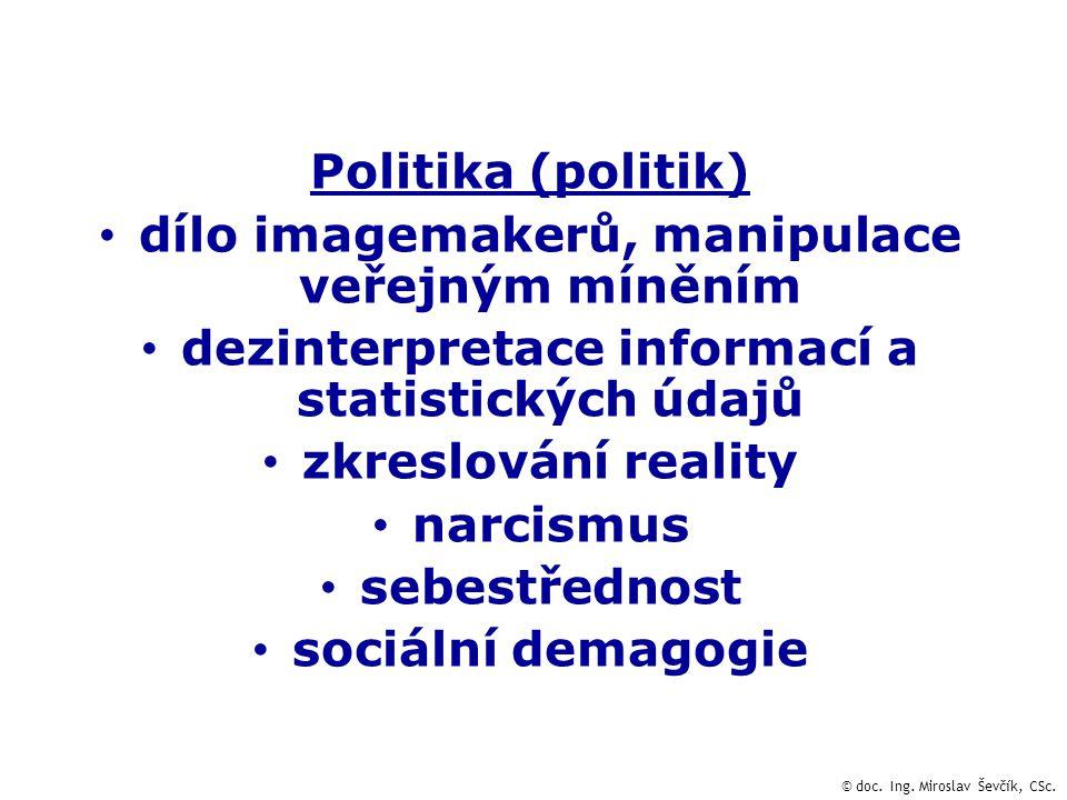 Politika (politik) dílo imagemakerů, manipulace veřejným míněním dezinterpretace informací a statistických údajů zkreslování reality narcismus sebestřednost sociální demagogie © doc.