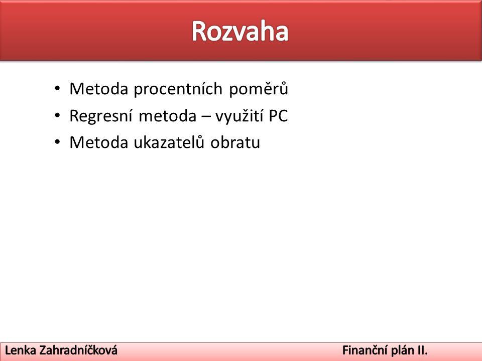 Metoda procentních poměrů Regresní metoda – využití PC Metoda ukazatelů obratu