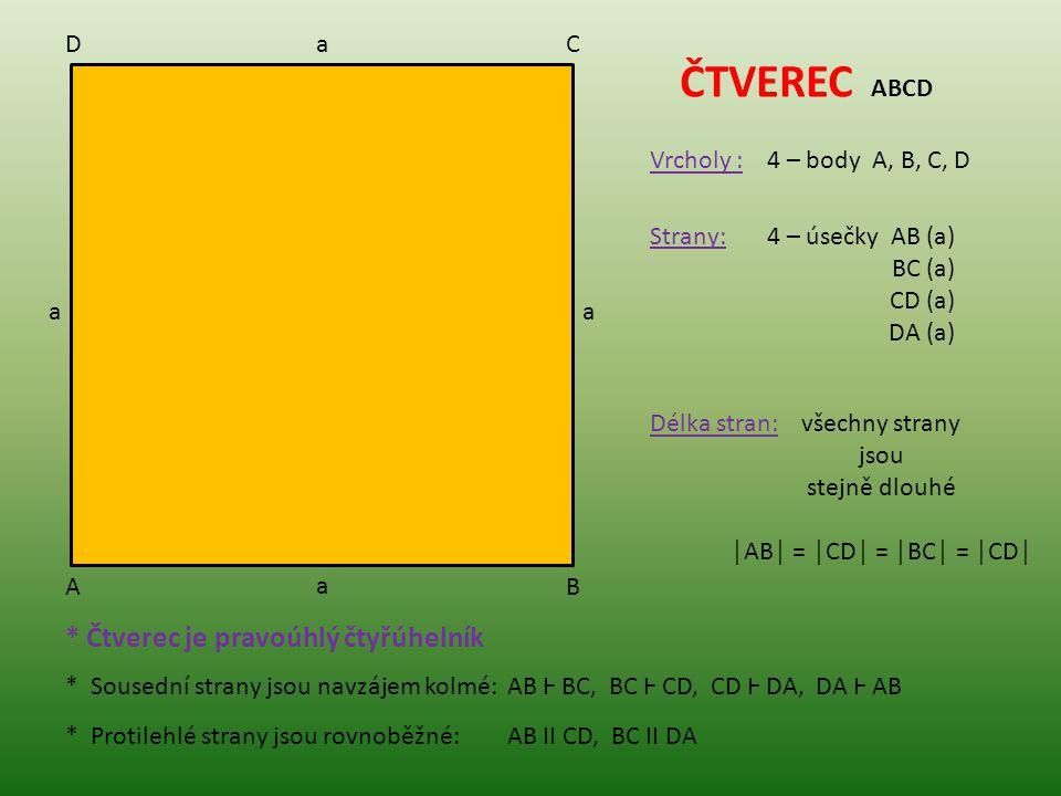 AB CD ČTVEREC ABCD Vrcholy :4 – body A, B, C, D Strany:4 – úsečky AB (a) BC (a) CD (a) DA (a) a a a a Délka stran:všechny strany jsou stejně dlouhé │A