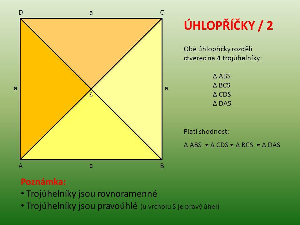 ÚHLOPŘÍČKY / 2 Poznámka: Trojúhelníky jsou rovnoramenné Trojúhelníky jsou pravoúhlé (u vrcholu S je pravý úhel) Obě úhlopříčky rozdělí čtverec na 4 tr