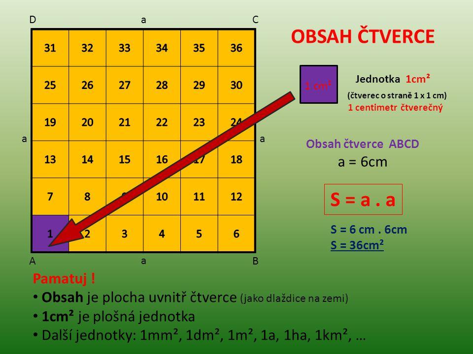 OBSAH ČTVERCE 1 cm² Jednotka 1cm² (čtverec o straně 1 x 1 cm) 1 centimetr čtverečný Obsah čtverce ABCD a = 6cm S = a. a S = 6 cm. 6cm S = 36cm² Pamatu