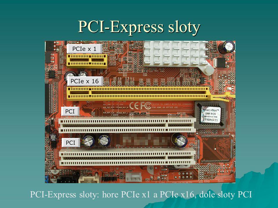 PCI-Express sloty PCI-Express sloty: hore PCIe x1 a PCIe x16, dole sloty PCI
