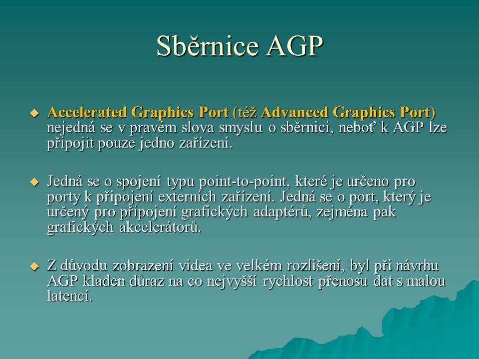 Sběrnice AGP  Accelerated Graphics Port (též Advanced Graphics Port) nejedná se v pravém slova smyslu o sběrnici, neboť k AGP lze připojit pouze jedno zařízení.