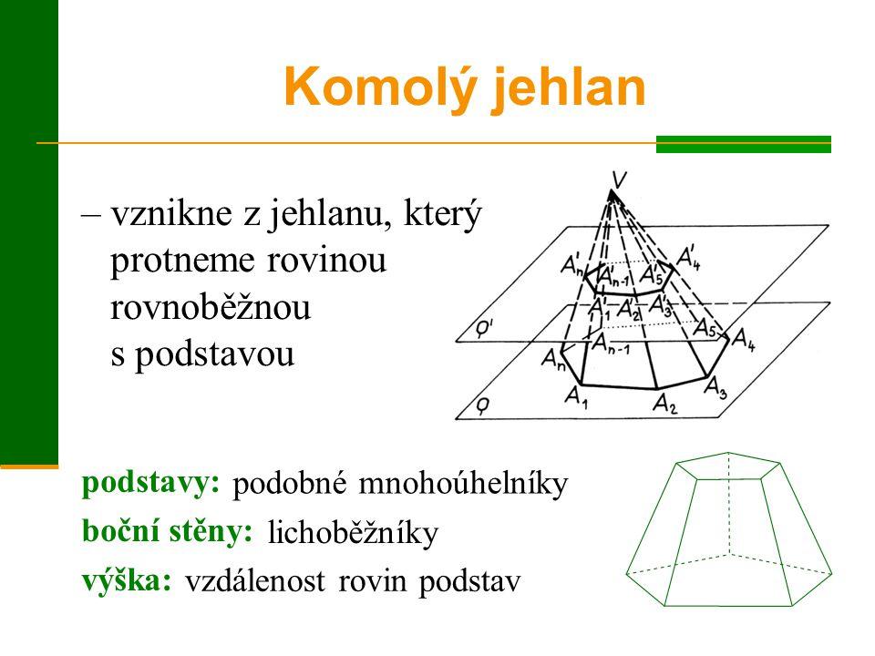 – vznikne z jehlanu, který protneme rovinou rovnoběžnou s podstavou Komolý jehlan podstavy: boční stěny: výška: podobné mnohoúhelníky lichoběžníky vzdálenost rovin podstav