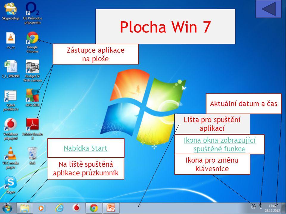 Plocha Win 7 Lišta pro spuštění aplikací Nabídka Start Zástupce aplikace na ploše Ikona okna zobrazující spuštěné funkce Ikona pro změnu klávesnice Ak
