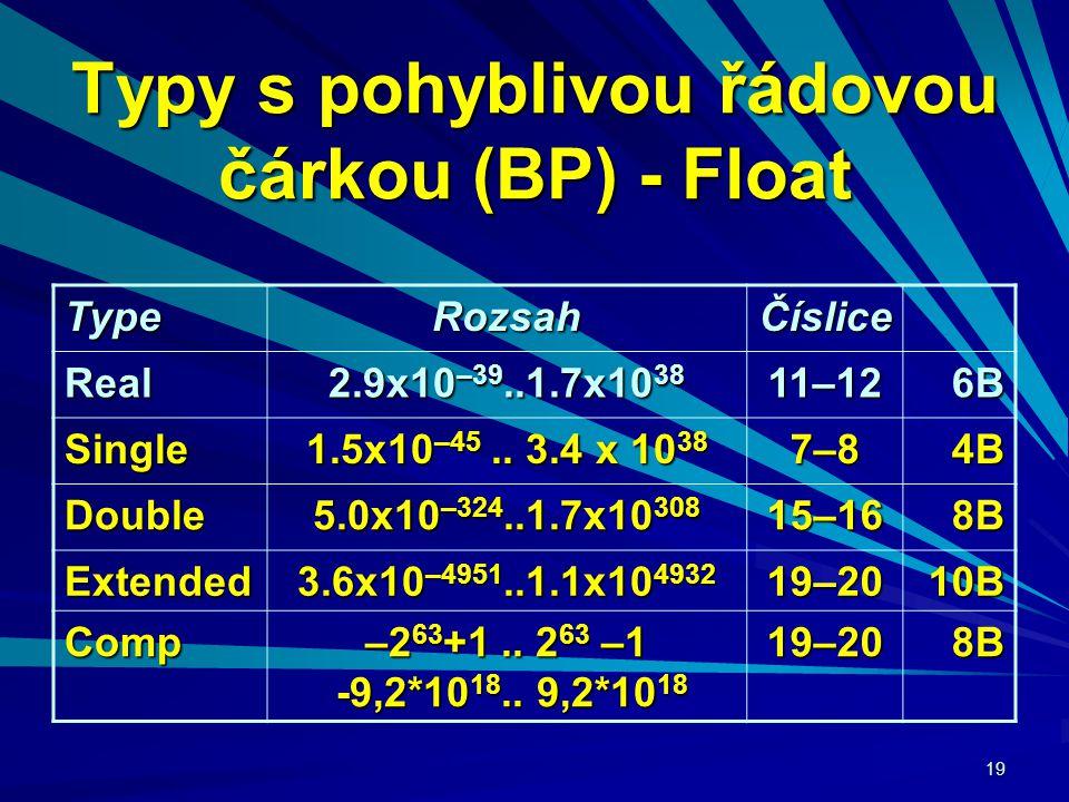 19 Typy s pohyblivou řádovou čárkou (BP) - Float TypeRozsahČíslice Real 2.9x10 –39..1.7x10 38 11–12 6B6B6B6B Single 1.5x10 –45..