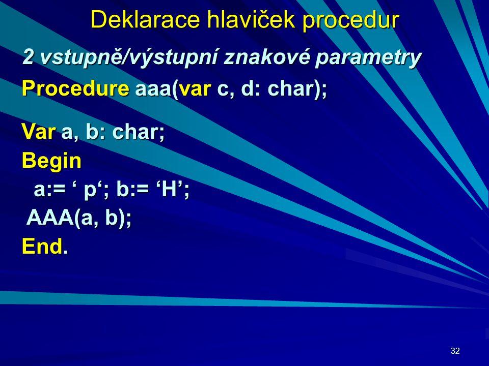 32 Deklarace hlaviček procedur 2 vstupně/výstupní znakové parametry Procedure aaa(var c, d: char); Var a, b: char; Begin a:= ' p'; b:= 'H'; a:= ' p'; b:= 'H'; AAA(a, b); AAA(a, b); End.