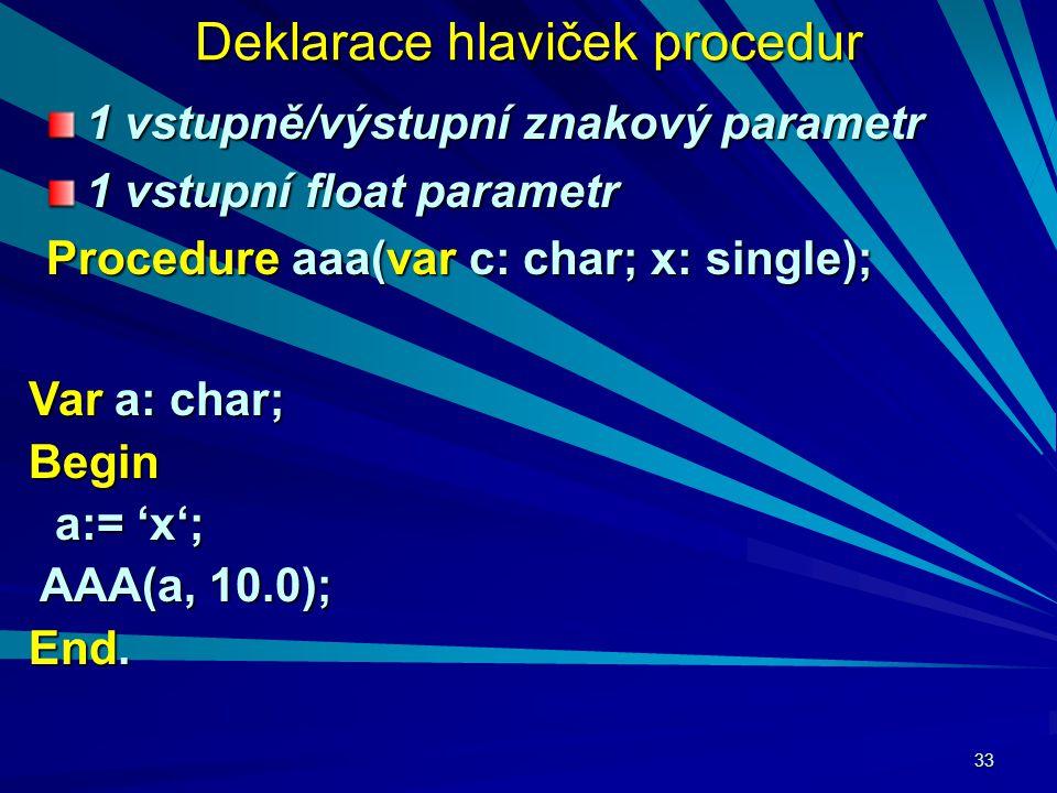 33 Deklarace hlaviček procedur 1 vstupně/výstupní znakový parametr 1 vstupní float parametr Procedure aaa(var c: char; x: single); Var a: char; Begin a:= 'x'; a:= 'x'; AAA(a, 10.0); AAA(a, 10.0); End.
