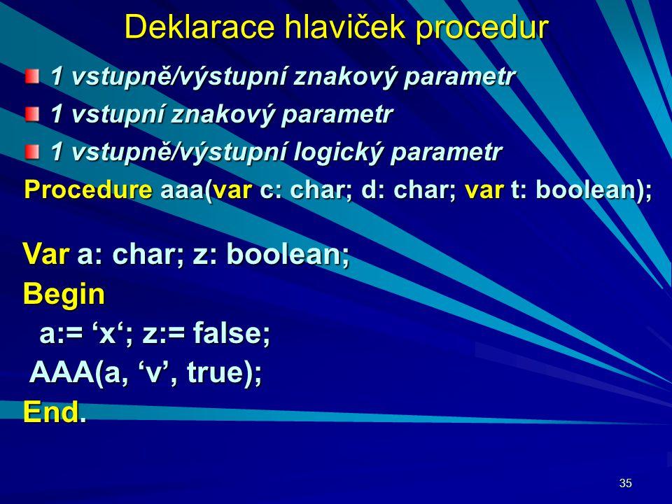 35 Deklarace hlaviček procedur 1 vstupně/výstupní znakový parametr 1 vstupní znakový parametr 1 vstupně/výstupní logický parametr Procedure aaa(var c: char; d: char; var t: boolean); Var a: char; z: boolean; Begin a:= 'x'; z:= false; a:= 'x'; z:= false; AAA(a, 'v', true); AAA(a, 'v', true); End.