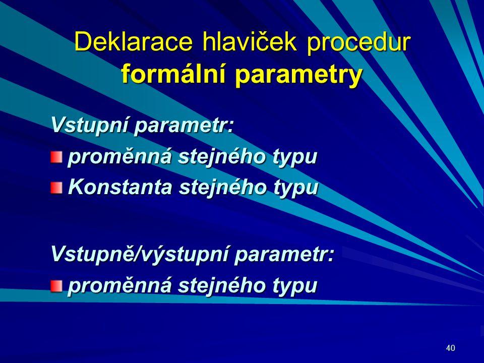 40 Deklarace hlaviček procedur formální parametry Vstupní parametr: proměnná stejného typu Konstanta stejného typu Vstupně/výstupní parametr: proměnná stejného typu