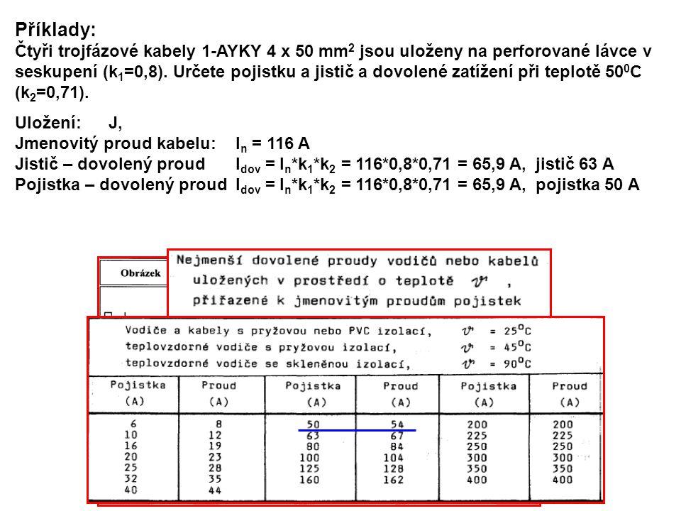 Jistič v rozváděči, vypínač u motoru Varianta B: 2.Jistič v rozváděči – I np = 50 A, charakteristika D.