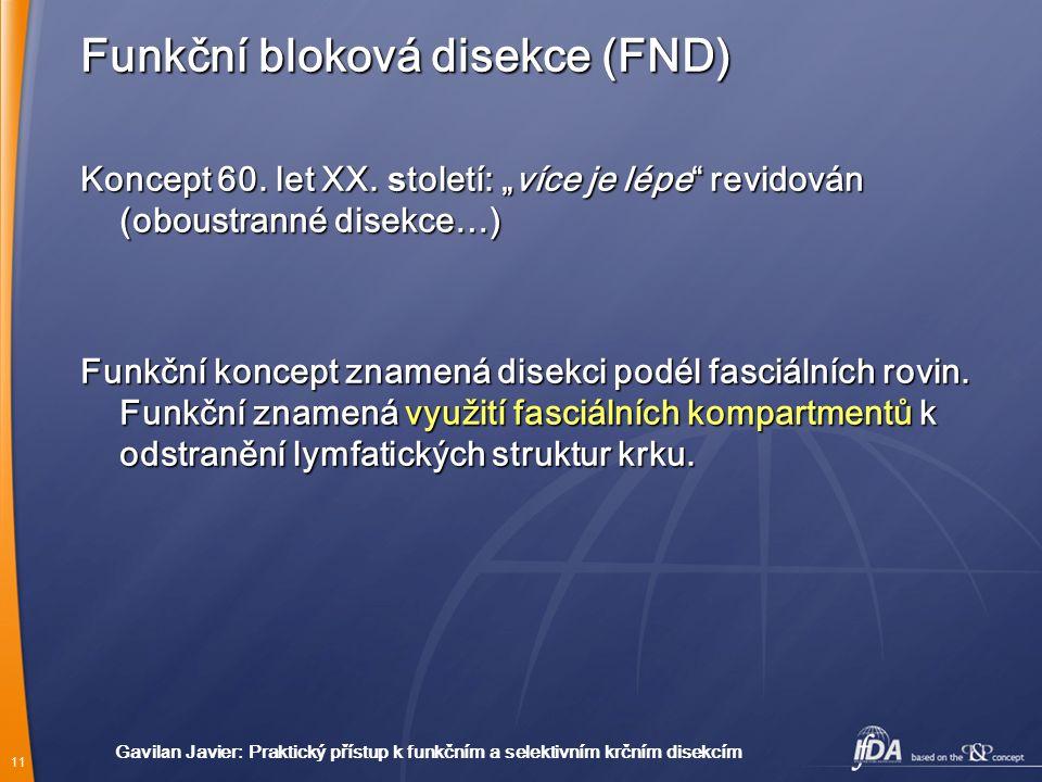 11 Gavil a n Javier : Praktický přístup k funkčním a selektivním krčním disekcím Funkční bloková disekce (FND) Koncept 60.