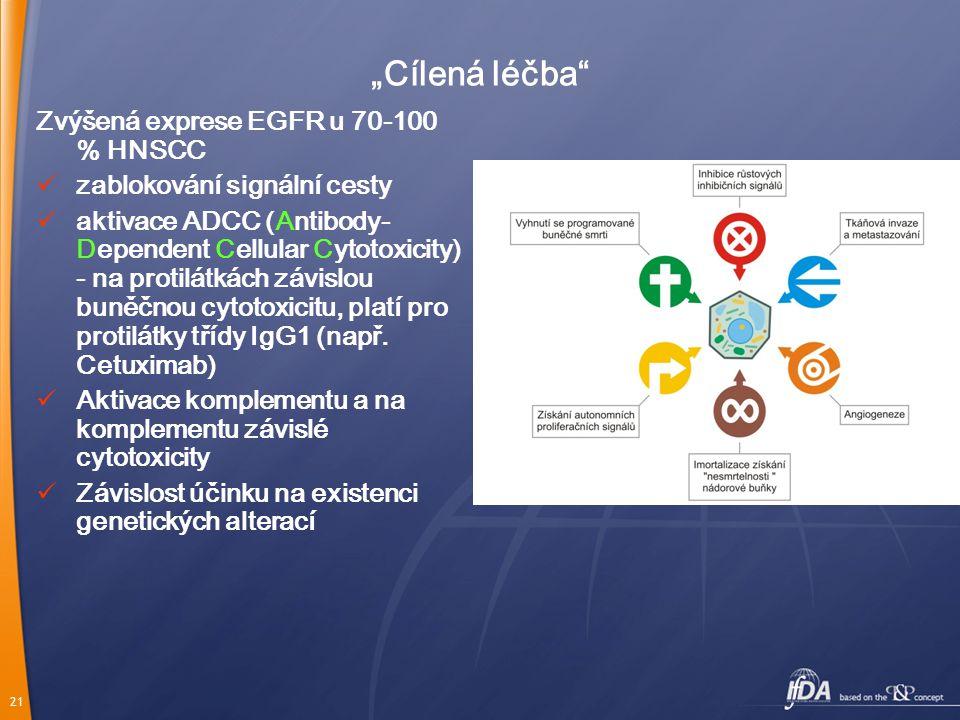 """21 """"Cílená léčba Zvýšená exprese EGFR u 70-100 % HNSCC zablokování signální cesty aktivace ADCC (Antibody- Dependent Cellular Cytotoxicity) - na protilátkách závislou buněčnou cytotoxicitu, platí pro protilátky třídy IgG1 (např."""