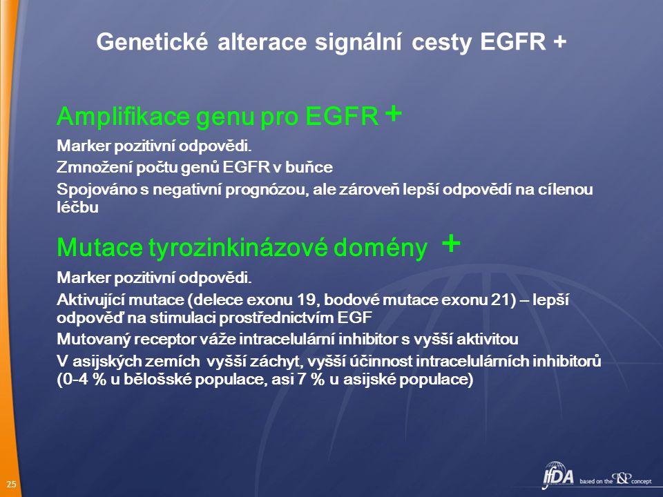 25 Genetické alterace signální cesty EGFR + Amplifikace genu pro EGFR + Marker pozitivní odpovědi.
