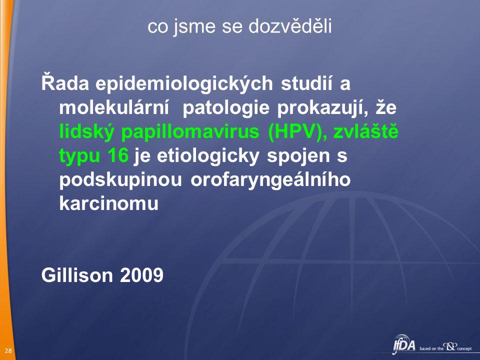 28 co jsme se dozvěděli Řada epidemiologických studií a molekulární patologie prokazují, že lidský papillomavirus (HPV), zvláště typu 16 je etiologicky spojen s podskupinou orofaryngeálního karcinomu Gillison 2009