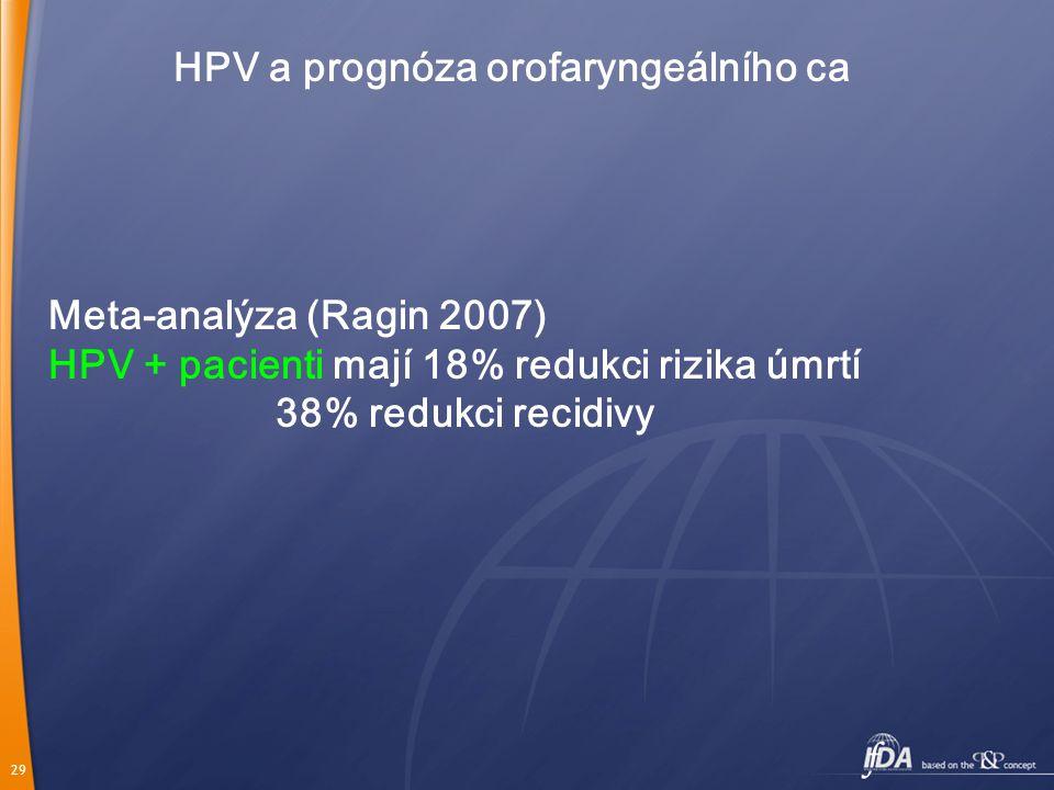 29 HPV a prognóza orofaryngeálního ca Meta-analýza (Ragin 2007) HPV + pacienti mají 18% redukci rizika úmrtí 38% redukci recidivy