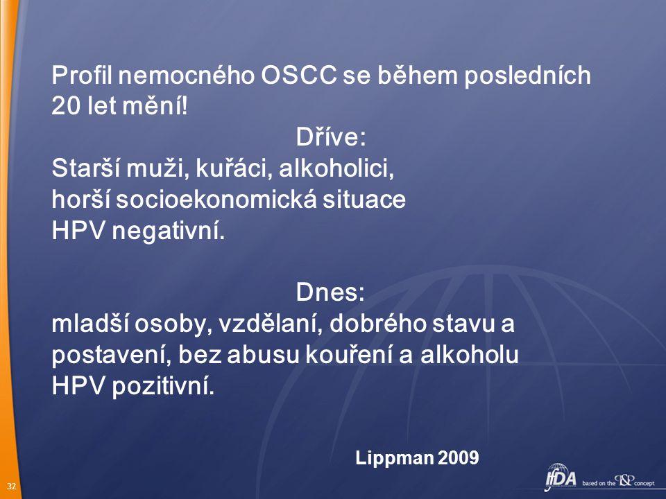 32 Profil nemocného OSCC se během posledních 20 let mění.