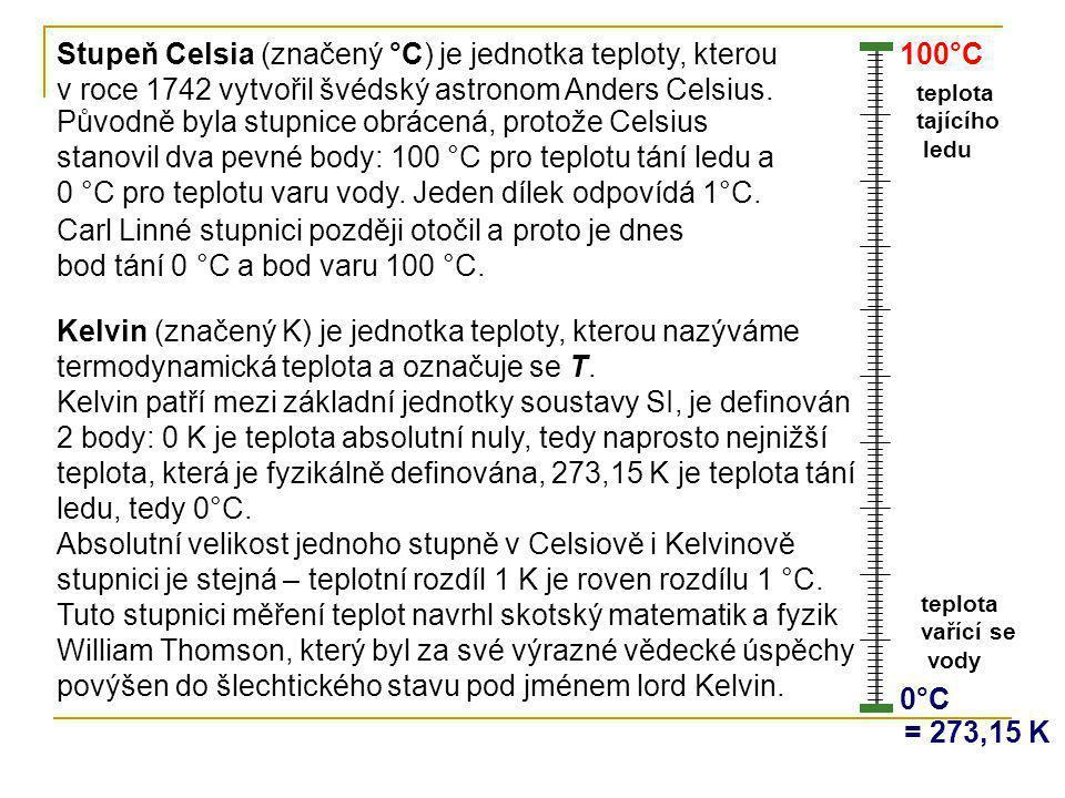 0°C0°C 100°C teplota vařící se vody teplota tajícího ledu Stupeň Celsia (značený °C) je jednotka teploty, kterou v roce 1742 vytvořil švédský astronom
