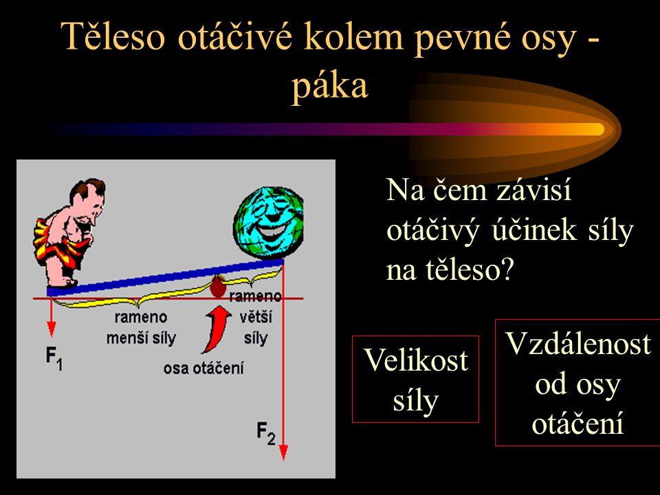 tyč (těleso) otáčivá kolem pevné osy Těleso otáčivé kolem pevné osy - páka Páka jednoduchý stroj (nakloněná rovnina, šroub, kladka, klín,…) pojmy - osa otáčení, působící síly, rameno síly = vzdálenost působiště síly od osy otáčení