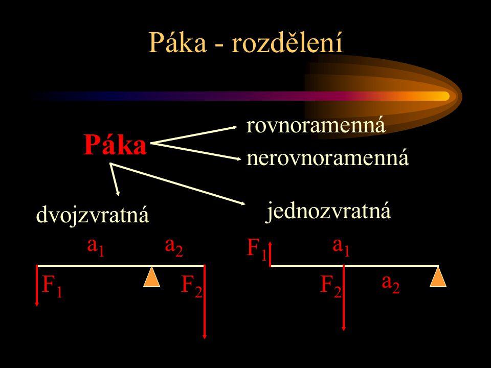 jednozvratná Páka - rozdělení Páka dvojzvratná a1a1 a2a2 F1F1 F2F2 a1a1 a2a2 F1F1 F2F2 rovnoramenná nerovnoramenná