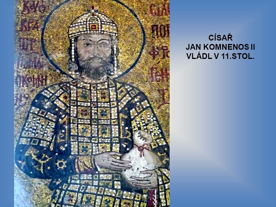 MOZAJKA P.MARIE S JEŽÍŠKEM, VLEVO CÍSAŘ JAN KOMNENOS II, VPRAVO CÍSAŘOVNA IRENA