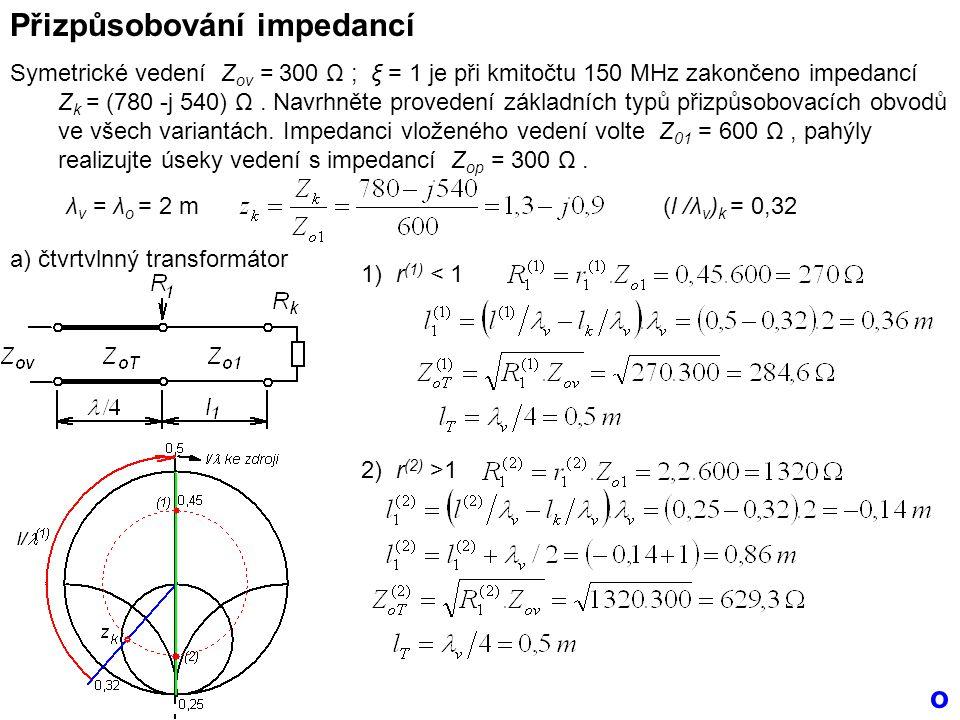 Přizpůsobování impedancí Symetrické vedení Z ov = 300 Ω ; ξ = 1 je při kmitočtu 150 MHz zakončeno impedancí Z k = (780 -j 540) Ω.