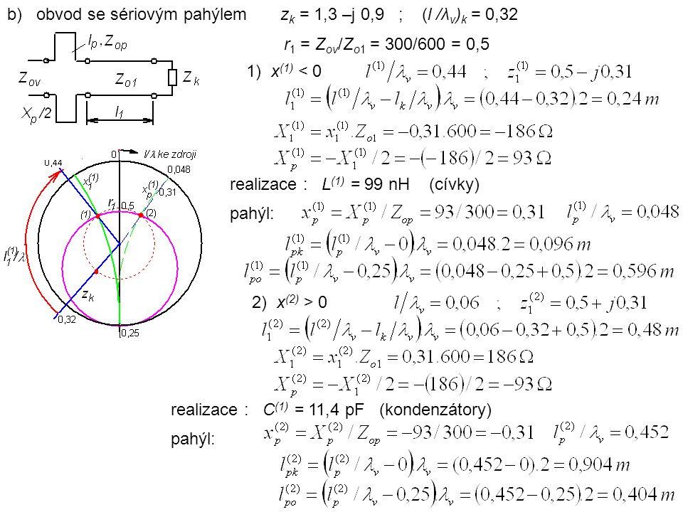 b) obvod se sériovým pahýlemz k = 1,3 –j 0,9 ; (l /λ v ) k = 0,32 1) x (1) < 0 2) x (2) > 0 realizace : L (1) = 99 nH (cívky) pahýl: realizace : C (1) = 11,4 pF (kondenzátory) pahýl: r 1 = Z ov /Z o1 = 300/600 = 0,5