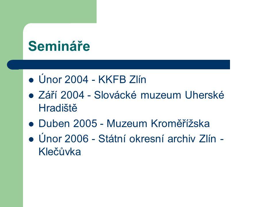 Semináře Únor 2004 - KKFB Zlín Září 2004 - Slovácké muzeum Uherské Hradiště Duben 2005 - Muzeum Kroměřížska Únor 2006 - Státní okresní archiv Zlín - Klečůvka